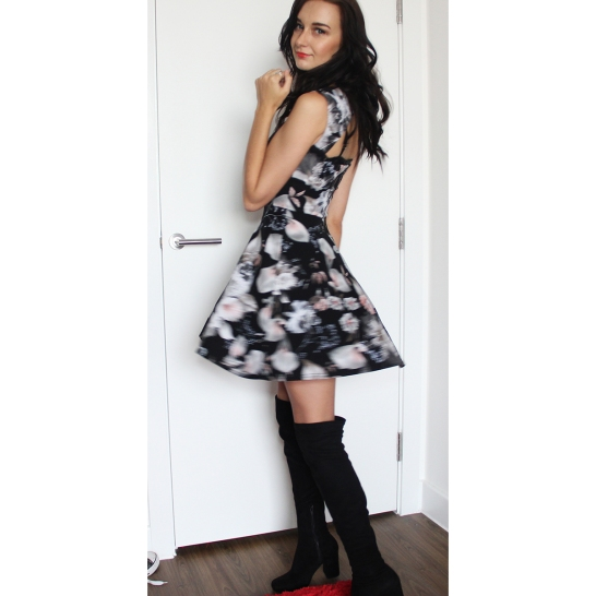 Floral Dress with Zara Boots - Rachel Oates - Affordably Fashionable